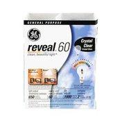 GE Reveal Crystal Clear 60 Watts Color Enhanced Full-Spectrum General Purpose Light Bulbs
