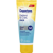 Coppertone Sunscreen, Lotion, Face, Clear Zinc, Broad Spectrum, SPF 50