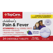 TopCare Pain & Fever, Children's, 160 mg, Chewable Tablets, Grape Flavor