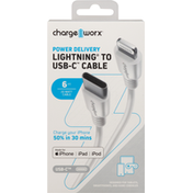 Chargeworx USB-C to Lightning Cable, Power Delivery, 6 Feet