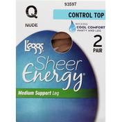 L'eggs Pantyhose, Control Top, Medium Support Leg, Q, Nude
