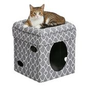 """Midwest Pet Products 16.5"""" Curious Cat Cube in Gray"""