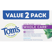 Tom's of Maine Anticavity Toothpaste, Peppermint, Value 2 Pack