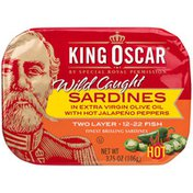 King Oscar Sardines in Olive Oil with Jalapeno Peppers