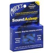 Macks Earplugs, SoundAsleep, Soft Foam