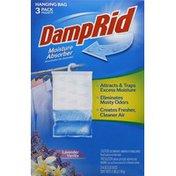 DampRid Moisture Absorber, Lavender Vanilla, Hanging Bag, 3 Pack