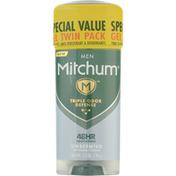 Mitchum Antiperspirant & Deodorant, Gel, Special Value, Men, Unscented, Twin Pack