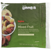 Hy-Vee Unsweetened Mixed Fruit With Sliced Peaches, Whole Strawberries, Red Seedless Grapes, Dark Sweet Cherries And Pineapple Chunks
