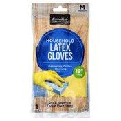 Essential Everyday Latex Gloves, Household, Medium