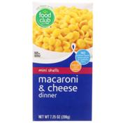 Food Club Mini Shells Macaroni & Cheese Dinner