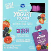 Kroger Yogurt Pouches, Low Fat, Mixed Berry
