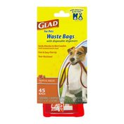 Glad For Pets Waste Bags with Disposable Dispensers Tropical Breeze - 45 CT