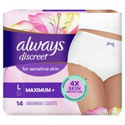 Always Discreet For Sensitive Skin Underwear L Maximum Plus Absorbency,