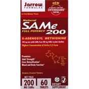 Jarrow Formulas SAMe, Natural, Full Potency, 200 mg, Enteric-Coated Tablets