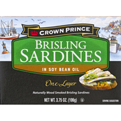 Crown Prince Sardines, Brisling, in Soy Bean Oil, One Layer