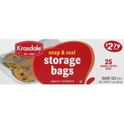Krasdale Storage Bags, Double Zipper, Quart Size