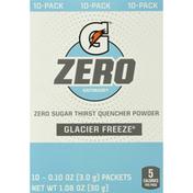 Gatorade Thirst Quencher, Zero Sugar, Glacier Freeze, Powder, 10-Pack