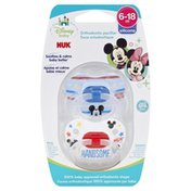 NUK Pacifiers, Orthodontic, Silicone, 6-18M