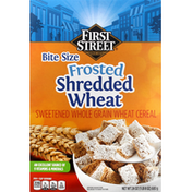 First Street Cereal, Shredded Wheat, Frosted, Bite Size