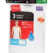 Hanes Tanks, Tagless, White, 2XL