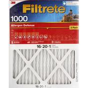 3M Air Cleaning Filter, Electrostatic, MPR 1000, Allergen Defense, 2 Pack