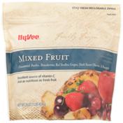 Hy-Vee Freshly Frozen Unsweetened Mixed Fruit Peaches, Strawberries, Red Seedless Grapes, Dark Sweet Cherries & Pineapple