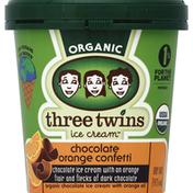 Three Twins Ice Cream, Organic, Chocolate Orange Confetti