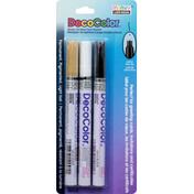 Marvy Uchida Paint Marker, Gold/White/Black, Glossy Oil Base, Extra Fine Tip