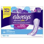 Always Discreet For Sensitive Skin Pads Moderate Absorbency