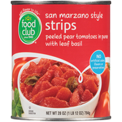 Food Club San Marzano Style Strips Peeled Pear Tomatoes In Puree With Leaf Basil