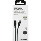Scosche Charge & Sync Cable, Dual USB-C, Braided, Space Gray, 4 Feet