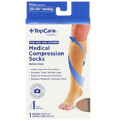 TopCare Firm Support Medical Beige Open-Toe Below Knee Compression Socks For Men And Women, Large
