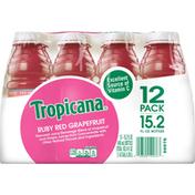 Tropicana Juice Beverage, Ruby Red Grapefruit, 12 Pack