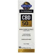 Garden of Life Whole Hemp Extract, CBD 50 mg, Chocolate Mint, Liquid Drops