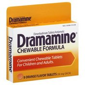 Dramamine Dimenhydrinate Tablets/Antiemetic, 50 mg, Chewable Tablets, Orange Flavor