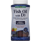 Nature's Bounty Fish Oil with D3, Adult Gummies, Assorted Flavors