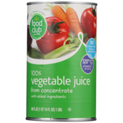 Food Club 100% Vegetable Juice From Concentrate