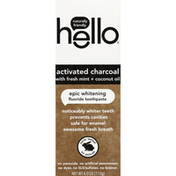 hello Toothpaste, Fluoride, Activated Charcoal with Fresh Mint + Coconut Oil