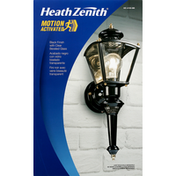 Heath Zenith Wall Light Fixture, Black Finish with Clear Beveled Glass, Motion Activated