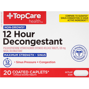 TopCare Decongestant, Non-Drowsy, Maximum Strength, 120 mg, Coated Caplets