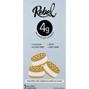 Rebel Ice Cream Sandwich, Chocolate Chip Cookies & Vanilla Ice Cream