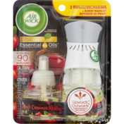 Air Wick Warmer + Scented Oil Refills, Apple Cinnamon Medley, Essential Oils, Blister Pack