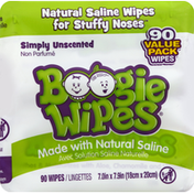 Boogie Wipes Saline Wipes, Simply Unscented, Value Pack