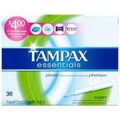 Tampax Essentials Plastic Applicator Super Absorbency Unscented Tampons
