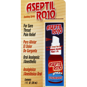 Aseptil Rojo Oral Analgesic/Anesthetic, Soothing Spray