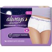 Always Discreet DISCREET Incontinence Underwear, Overnight Maximum, Underwear