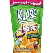 Klass Drink Mix, Sweetened, Orange Flavored