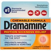 Dramamine Orange Flavor Chewable Formula Motion Sickness Relief 50mg Tablets
