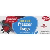 Krasdale Freezer Bags, Double Zipper, Quart Size