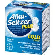 Alka-Seltzer Plus Cold Formula Sparkling Original Effervescent Tablets Multi-Symptom Relief